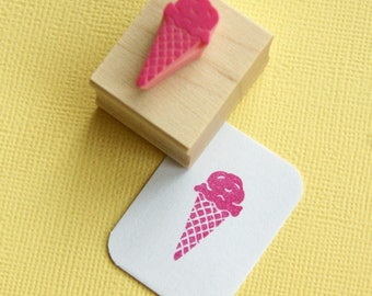 Delicious Ice Cream Hand Carved Rubber Stamp - Sundae Rubber Stamp - Retro Diner Rubber Stamp - 50s rubber stamp - Seaside  - Ice Cream Cone