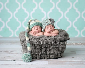 Twins Elf Hat and Flapper Beanie Set in Mint, Cream and Silver