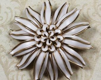 Vintage Trifari White Enamel and Gold Flower Brooch