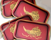 Vintage Tin Serving Trays - Set of Four - Home Decor - Deep Red and Gold