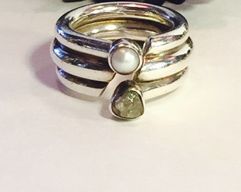 Modernist Sterling Silver Raw Diamond Pearl Vintage Ring