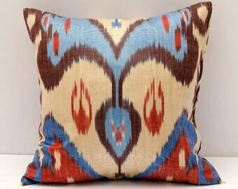 15x15 red blue cream beautiful ikat cushion cover, sofa pillow, pillow, pillows, ikats, ikat