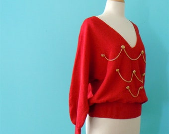 80's red sweater // red gold chain link knit top ~ small medium