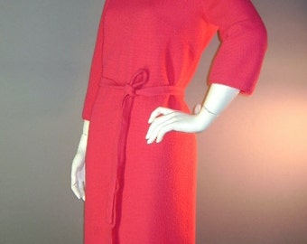 60s dress 1960s vintage HOT PINK KNIT Pointelle collar wool knit new old stock dress