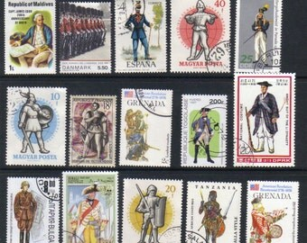 Soldiers - Postage stamps - Soldiers uniforms - Vintage and modern postage stamps for scrap books, party invitations and art projects