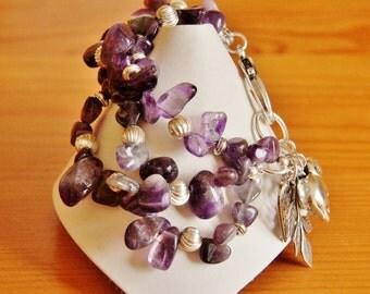 Amethyst statement bracelet, multi strand bracelet, big bold bracelet, chunky bracelet, purple bracelet, amethyst jewelry, charm bracelet