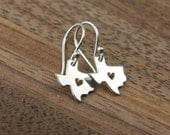 Texas state charm with heart earrings in sterling silver, heart of Texas, lone star state, cowboy, state of Texas, western, Texas earrings