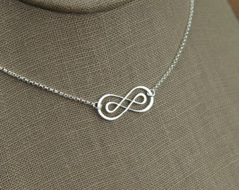 Double infinity necklace in sterling silver, sterling silver necklace, infinity symbol, eternity necklace, friendship necklace, mother's day
