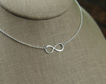Small infinity necklace in sterling silver, infinity necklace, sterling silver infinity, eternity necklace, infinity symbol