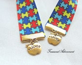 Bookmark, Autism Awareness Ribbon Bookmark, Apple Bookmark, Thank you gift for teacher, Therapist, Autism Mom, Apergers Syndrome, ASD