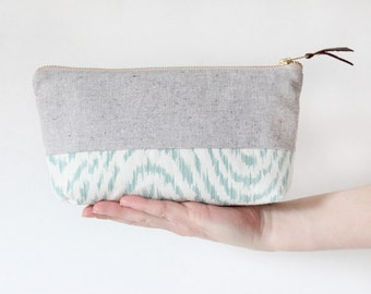 EMILIE Makeup bag, cosmetic case grey and teal waves