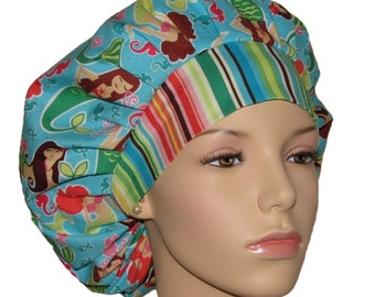 Scrub Hats - Summer Sea Beauties Turquoise Blue