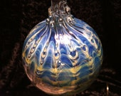 Blown Glass Ornament..Cobalt Blue and Amber Lace Orb