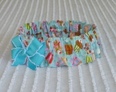 """Cherry on Top Cupcakes on Blue Dog Scrunchie Collar with bow - XL: 18"""" to 20"""" neck"""
