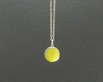 Simple Apple Green Necklace, Sterling Silver, 17' Sterling Chain, Green Enamel Dot Pendant, Fun Color Jewelry
