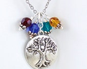 Family Tree Birthstone Necklace, Pendant Birthstone Tree of Life, Grandmothers Mothers Necklace, Choose Up to 4 Birthstones.