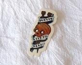 Bury Me With My Yarn Vinyl Sticker Tattoo Style