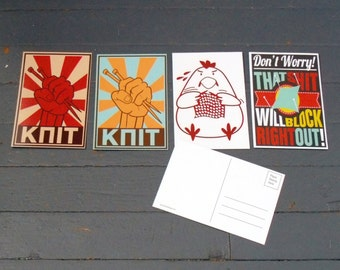 Knitting Postcards - Set of 4 cards - Swap Packages