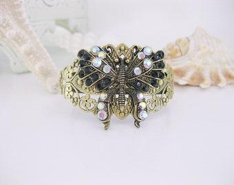 Black Rhinestone Butterfly Bracelet, Cuff Bracelet, Butterfly Bracelet, Butterfly Jewelry, Filigree Cuff Bracelet, Black Cuff Bracelet,B-248