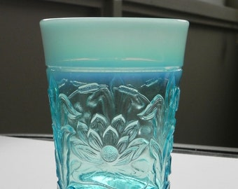 Northwood Opalescent Glass Tumbler. Water Lily and Cattails Pattern in Turquoise.