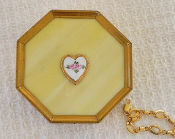 Pearlized Pearloid Yellow and Brass or Gold Tone Jewelry Box. Octagonal Trinket Box in Basket Weave Pattern. Enamel Rosebud Accent.