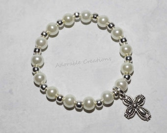 White Pearl & Silver Cross Baptism/Communion Bracelet