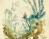 antique french chinoiserie wallpaper illustration fisherman digital download