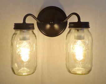 Canning Jar DOUBLE Wall Sconce NEW Quarts Mason Lights Fixture Lighting by LampGoods