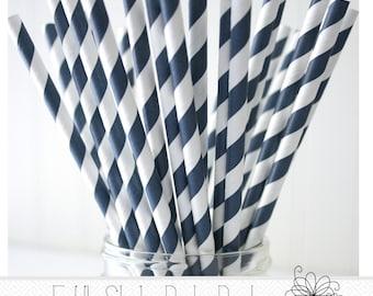 Dark Blue Paper Straws- Pack of 25 Straws