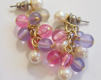 vintage pastel colored beaded dangle pierced earrings A1420