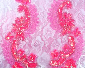 """0180 Hot Pink Mirror Pair Sequin Beaded Appliques 8"""" (0180X-hpk)"""