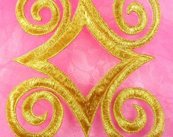 """GB170 Gold Metallic Embroidered Applique Iron On Patch 4.25""""  (GB170-gl)"""