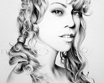 Mariah Carey Minimalism Original Pencil Drawing Fine Art Portrait