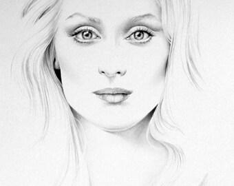 Meryl Streep Fine Art Signed Print Pencil Drawing