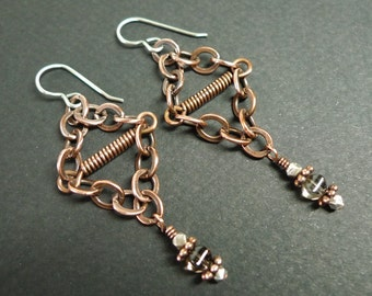 Metal In Motion – Copper and Sterling earrings with Smokey Quartz