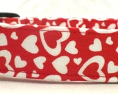 Falling In Love White Valentines Day Hearts on Red Dog Collar