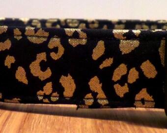 The Gold Standard Metallic Gold Cheetah Print on Black Dog Collar