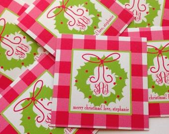 Christmas wreath tags