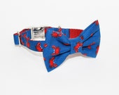 Adjustable Bow Tie Dog Collar- crab print- nautical