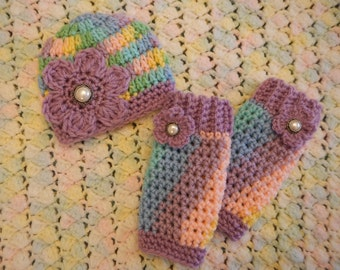 Newborn Girls Beanie And Leg Warmer set - Photographer's Set  - Crocheted - Ready To Ship