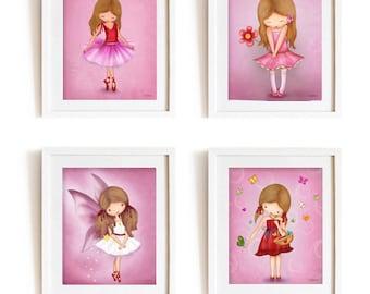 Kids wall art, set of 4 posters, Children's Decor, Kids room art, Pink Nursery prints, Baby Nursery print,pink nursery decor, fairy wall art