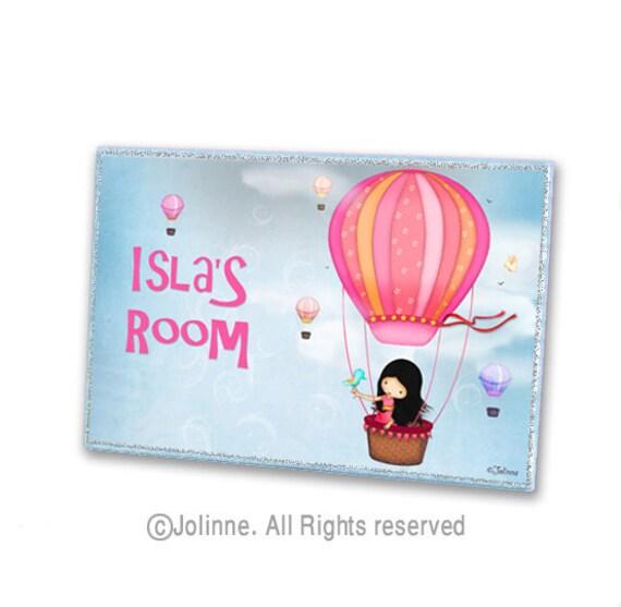Personalized door plaque, Hot air balloon, girls door sign , kids room