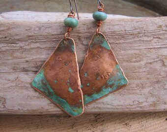 Copper Earrings Blue Patina with Turquoise