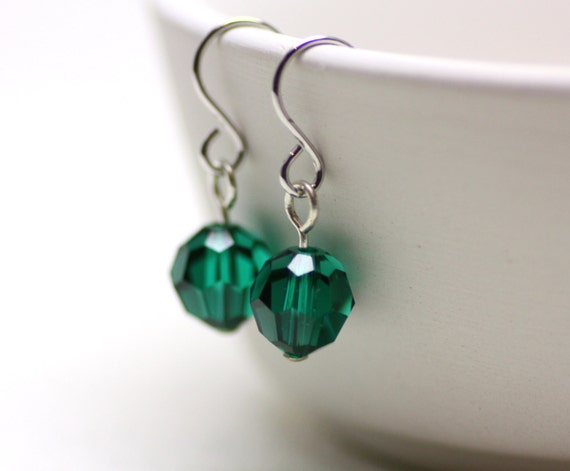 Emerald Green Swarovski Crystal Drop Earrings in Silver | Luxurious, Saturated Forest Green | Minimal, Everyday Sparkle | Drops by Azki