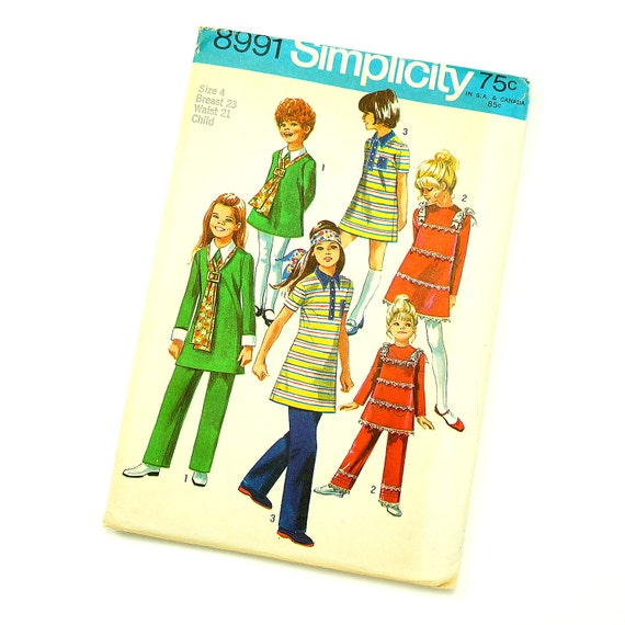 Vintage 1970s Simplicity Pattern 8991 / 70s Girls Size 4 Groovy Dress and Pants / Complete