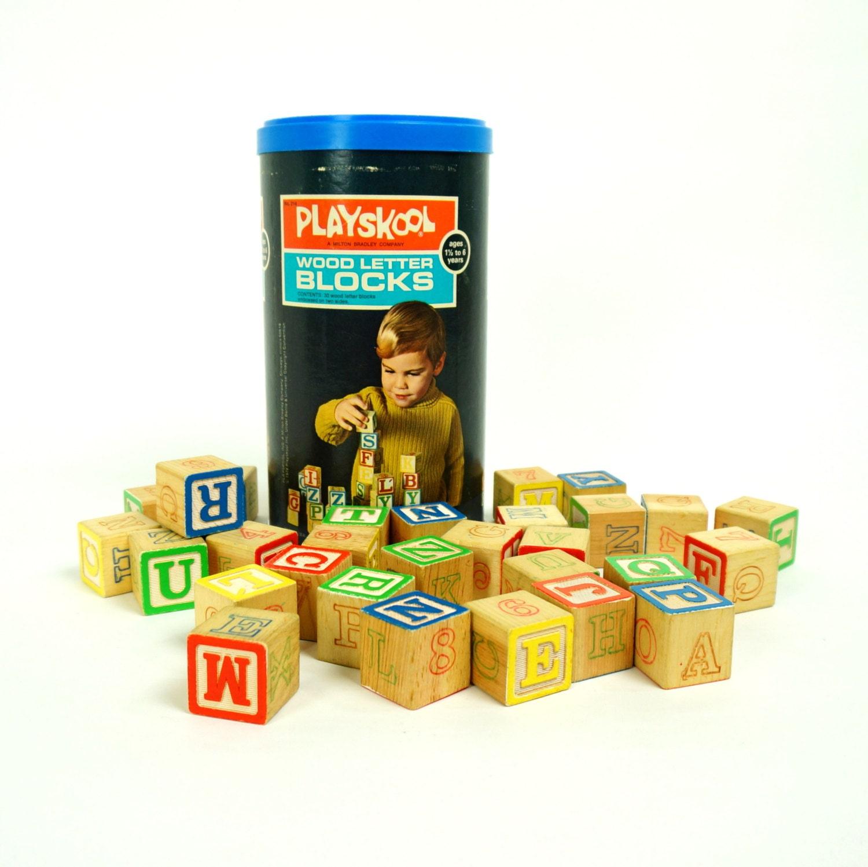 Playskool Wood Letter Blocks 1972 Vgc Build Stack Letter
