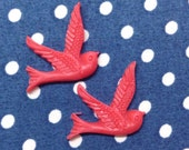 10 Pcs Pretty Flying Bird Cabochon - Red