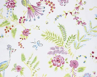 Chinoiserie Chic Fabric by Dena Designs 193 BirdSong Pastel Wispy Floral Flowers on White