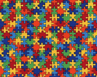Timeless Treasure Novelty Fabric Multicolored Bright Puzzle Pieces Puzzles
