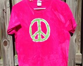 Women's Peace Sign Shirt (L), Ladies Peace Sign Shirt, Batik Peace Sign Shirt, Batik Ladies Top, Fuchsia Pink Peace Sign Shirt